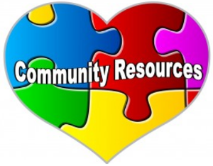 Community Resources as puzzle pieces in the shape of a heart