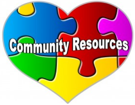 Community Resources puzzle pieces in the shape of a heart