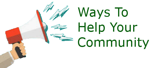 Megaphone with text for Ways to Help Your Community