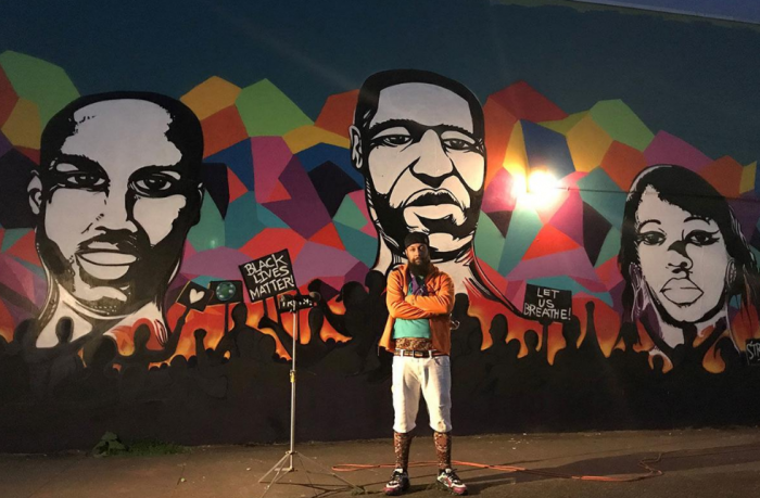 wall mural of George Floyd, Ahmaud Arbery and Breonna Taylor to support the protests for racial justice