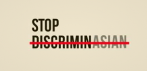 Stop Discrimin Asian sign (intentionally misspelled)